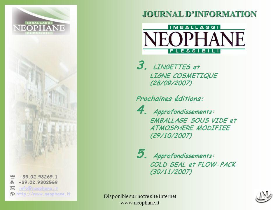 Disponible sur notre site Internet www.neophane.it +39.02.93269.1 +39.02.9302569 info@neophane.it http://www.neophane.it JOURNAL DINFORMATION 3.