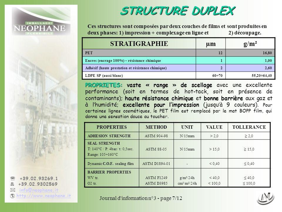 Journal d information n°3 - page 8/12 +39.02.93269.1 +39.02.9302569 info@neophane.it http://www.neophane.it STRUCTURE DUPLEX - suite STRATIGRAPHIEµmg/m² PET1216,80 Encres (encrage 100%) – résistance chimique11,00 Adhésif (haute prestation et résistance chimique)22,60 PE- EVOH -PE (aussi blanc) 50÷7547,00÷70,50 PROPERTIESMETHODUNITVALUETOLLERANCE ADHESION STRENGTHASTM 904-98N/15mm> 2,0 2,0 SEAL STRENGTH T: 140°C / P: 4bar / t: 0,5sec.