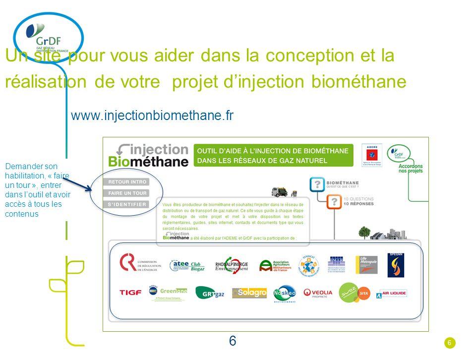 6 Un site pour vous aider dans la conception et la réalisation de votre projet dinjection biométhane www.injectionbiomethane.fr Demander son habilitat