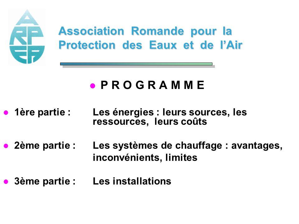 Association Romande pour la Protection des Eaux et de lAir l P R O G R A M M E l 1ère partie :Les énergies : leurs sources, les ressources, leurs coût