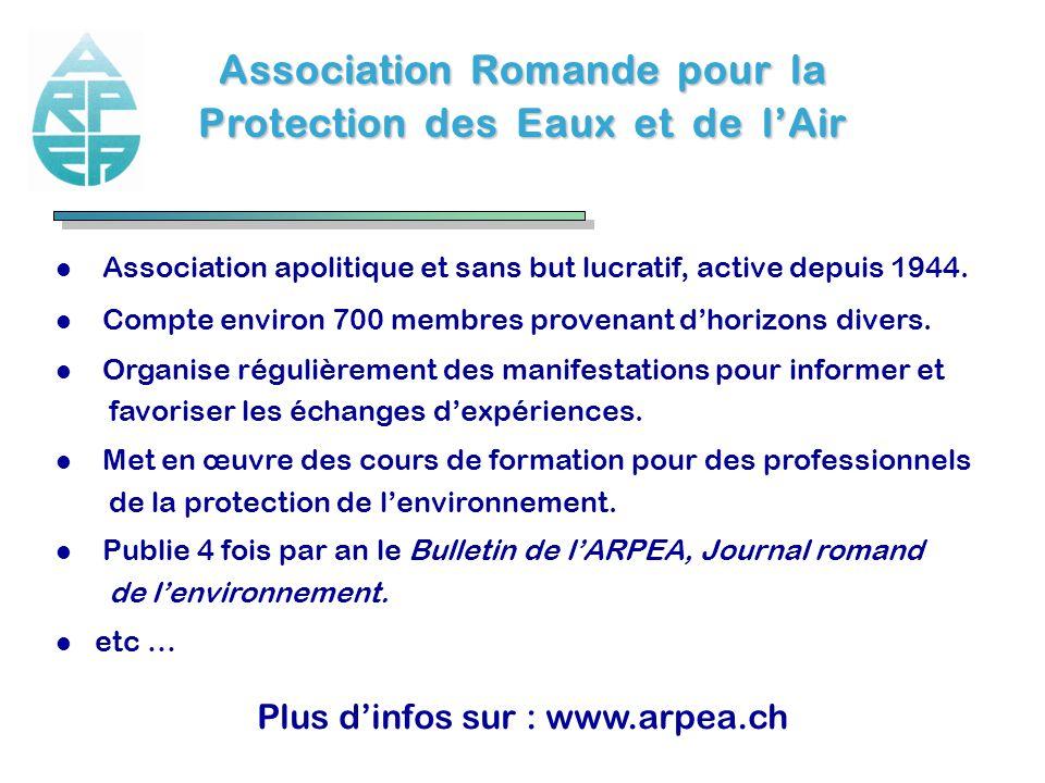 Association Romande pour la Protection des Eaux et de lAir l Association apolitique et sans but lucratif, active depuis 1944. l Compte environ 700 mem