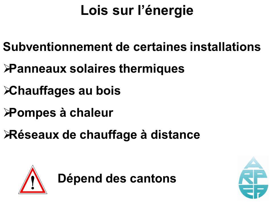 Lois sur lénergie Subventionnement de certaines installations Panneaux solaires thermiques Chauffages au bois Pompes à chaleur Réseaux de chauffage à