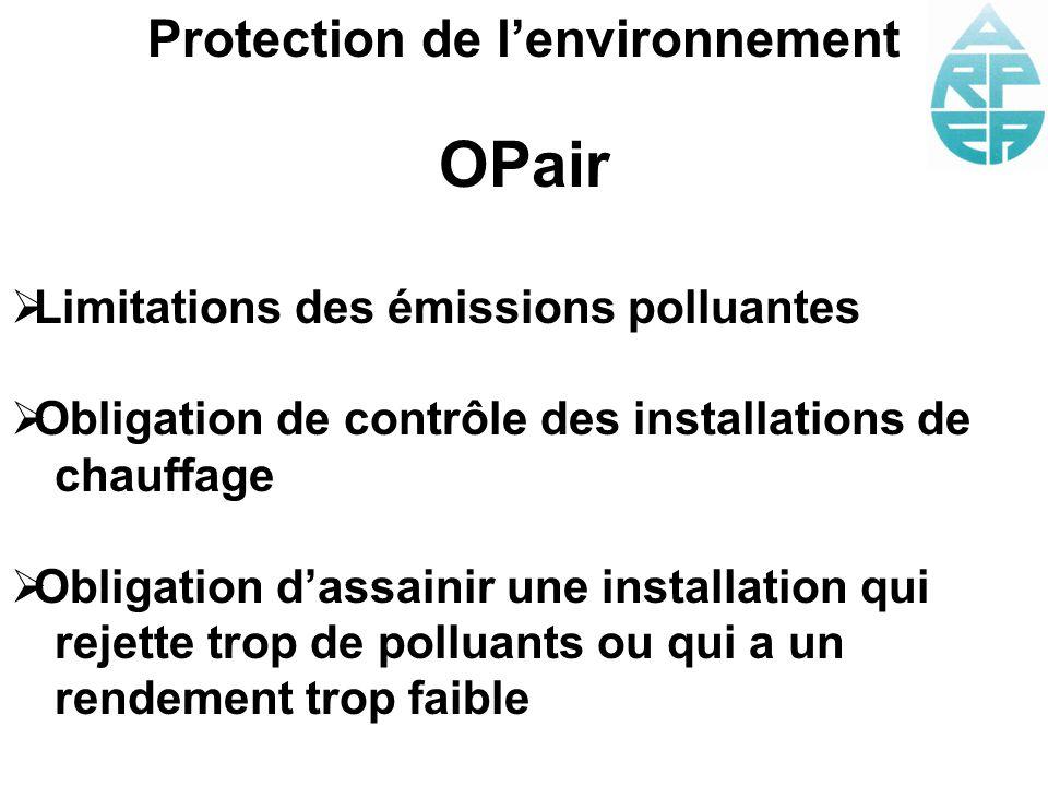 Protection de lenvironnement OPair Limitations des émissions polluantes Obligation de contrôle des installations de chauffage Obligation dassainir une