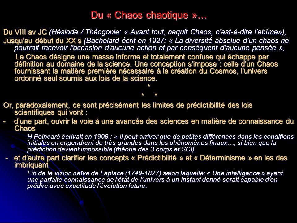 Du « Chaos chaotique »… Du VIII av JC (Hésiode / Théogonie: « Avant tout, naquit Chaos, cest-à-dire labîme»), Jusquau début du XX s (Bachelard écrit e