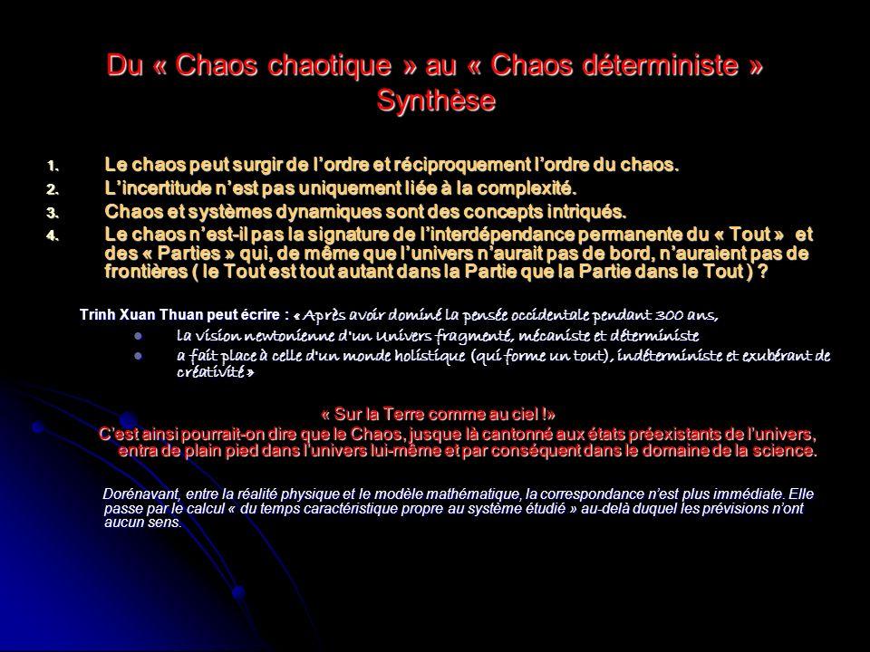 Du « Chaos chaotique » au « Chaos déterministe » Synthèse Le chaos peut surgir de lordre et réciproquement lordre du chaos. Le chaos peut surgir de lo