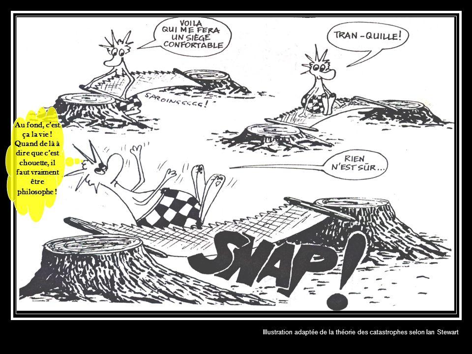 Illustration adaptée de la théorie des catastrophes selon Ian Stewart Au fond, cest ça la vie ! Quand de là à dire que cest chouette, il faut vraiment