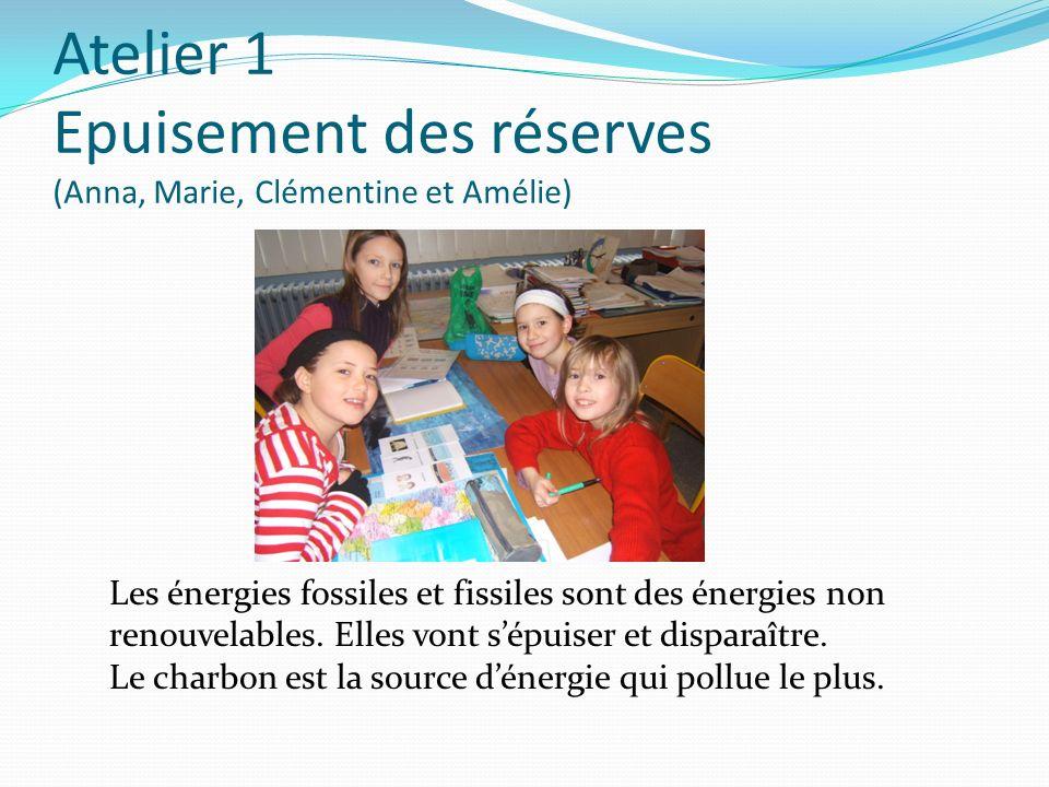 Atelier 1 Epuisement des réserves (Anna, Marie, Clémentine et Amélie) Les énergies fossiles et fissiles sont des énergies non renouvelables. Elles von