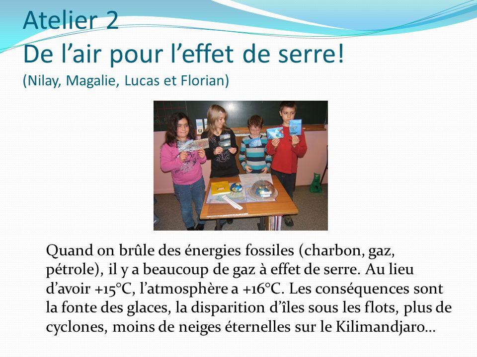 Atelier 2 De lair pour leffet de serre! (Nilay, Magalie, Lucas et Florian) Quand on brûle des énergies fossiles (charbon, gaz, pétrole), il y a beauco