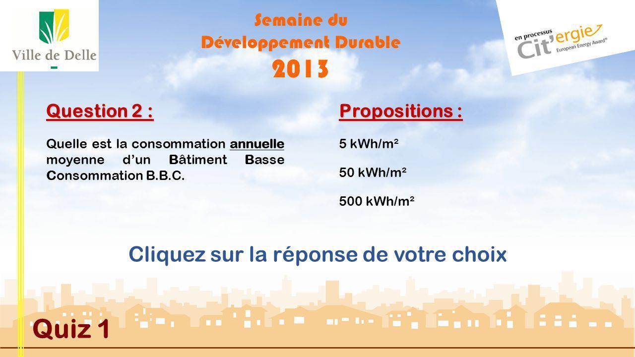 Semaine du Développement Durable 2013 Quiz 1 Question 1 : Dans quelle démarche de labellisation la Ville de DELLE sest- elle engagée MAUVAISE REPONSE Citérgie est la démarche de labellisation dans laquelle la Ville de DELLE sest engagée en 2010 pour 4 ans.
