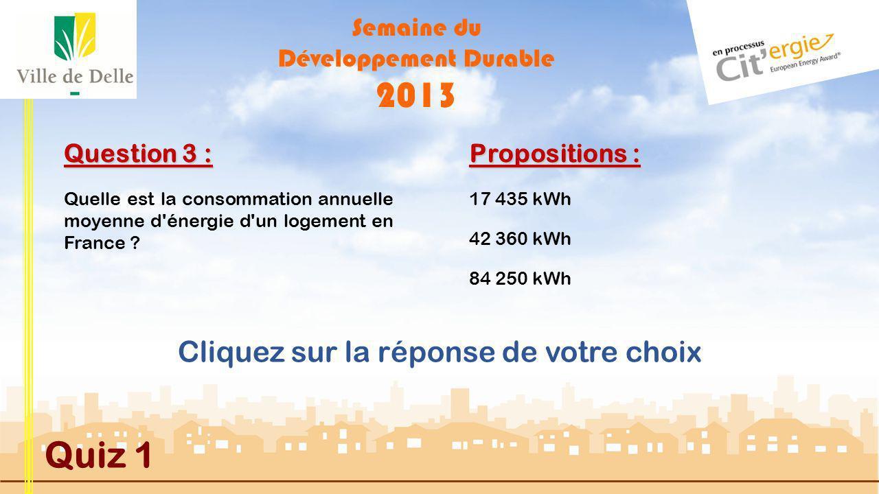 Semaine du Développement Durable 2013 Quiz 1 Question 2 : Quelle est la consommation annuelle moyenne dun Bâtiment Basse Consommation B.B.C.