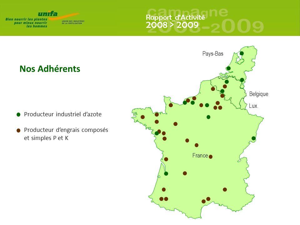 Rapport_dActivité 2008 > 2009 Producteur industriel dazote Producteur dengrais composés et simples P et K Nos Adhérents France Belgique Pays-Bas Lux.
