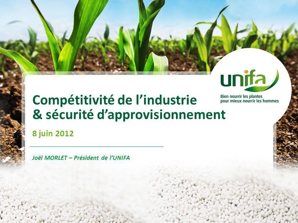 Compétitivité de lindustrie & sécurité dapprovisionnement 8 juin 2012 Joël MORLET – Président de lUNIFA