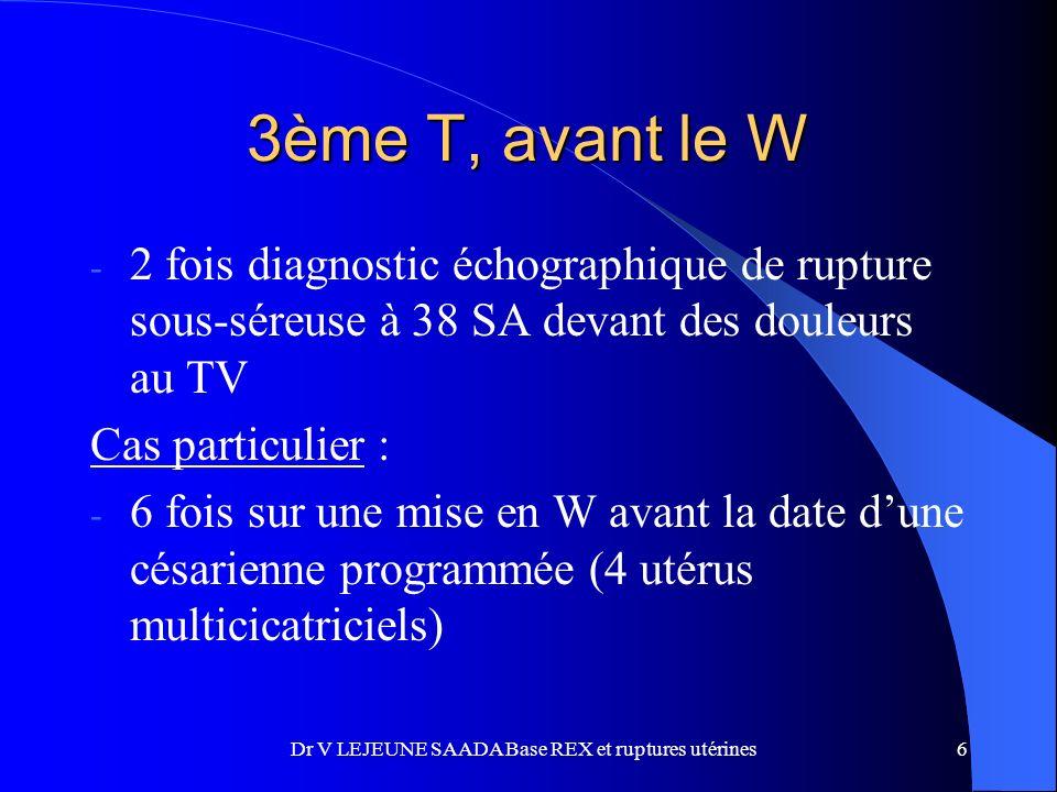 3ème T, avant le W - 2 fois diagnostic échographique de rupture sous-séreuse à 38 SA devant des douleurs au TV Cas particulier : - 6 fois sur une mise en W avant la date dune césarienne programmée (4 utérus multicicatriciels) 6Dr V LEJEUNE SAADA Base REX et ruptures utérines