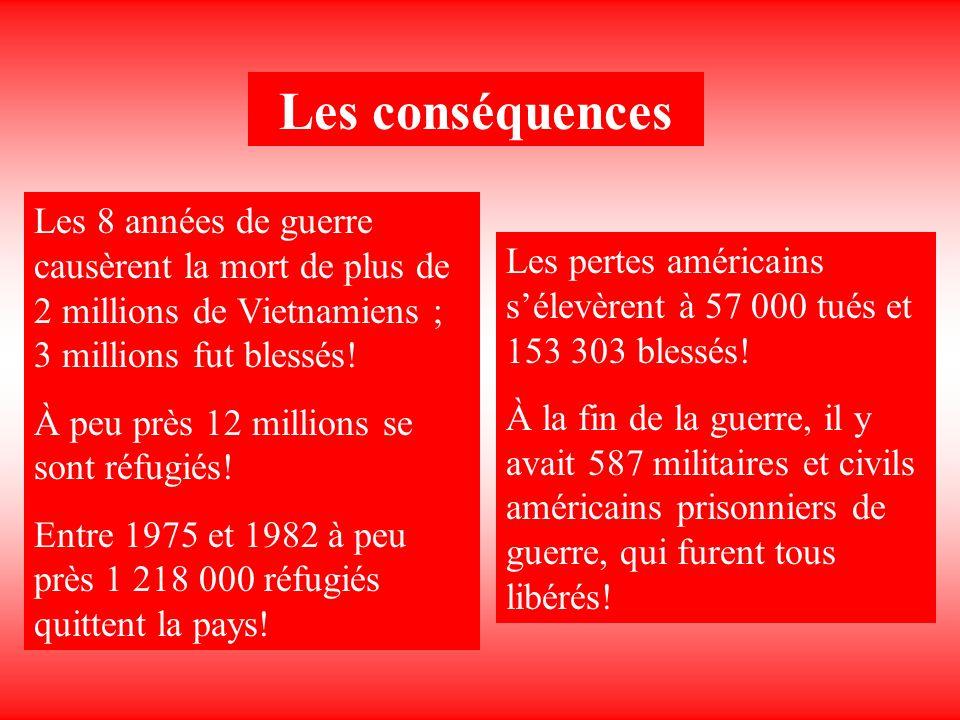Les conséquences Les 8 années de guerre causèrent la mort de plus de 2 millions de Vietnamiens ; 3 millions fut blessés! À peu près 12 millions se son