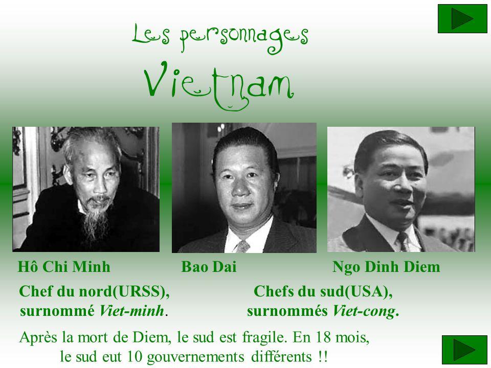 Hô Chi Minh Chef du nord(URSS), surnommé Viet-minh. Ngo Dinh Diem Chefs du sud(USA), surnommés Viet-cong. Les personnages Vietnam Bao Dai Après la mor