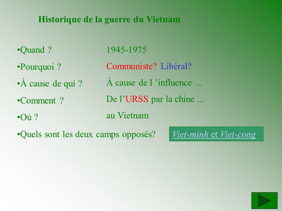 Historique de la guerre du Vietnam Quand ? Pourquoi ? À cause de qui ? Comment ? Où ? Quels sont les deux camps opposés? 1945-1975 Communiste? Libéral