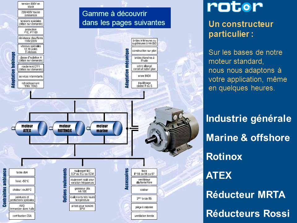 Industrie générale Marine & offshore Rotinox ATEX Réducteur MRTA Réducteurs Rossi Gamme à découvrir dans les pages suivantes Un constructeur particuli