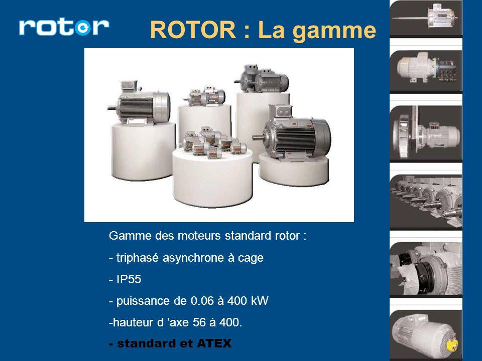 ROTOR : La gamme Gamme des moteurs standard rotor : - triphasé asynchrone à cage - IP55 - puissance de 0.06 à 400 kW -hauteur d axe 56 à 400. - standa
