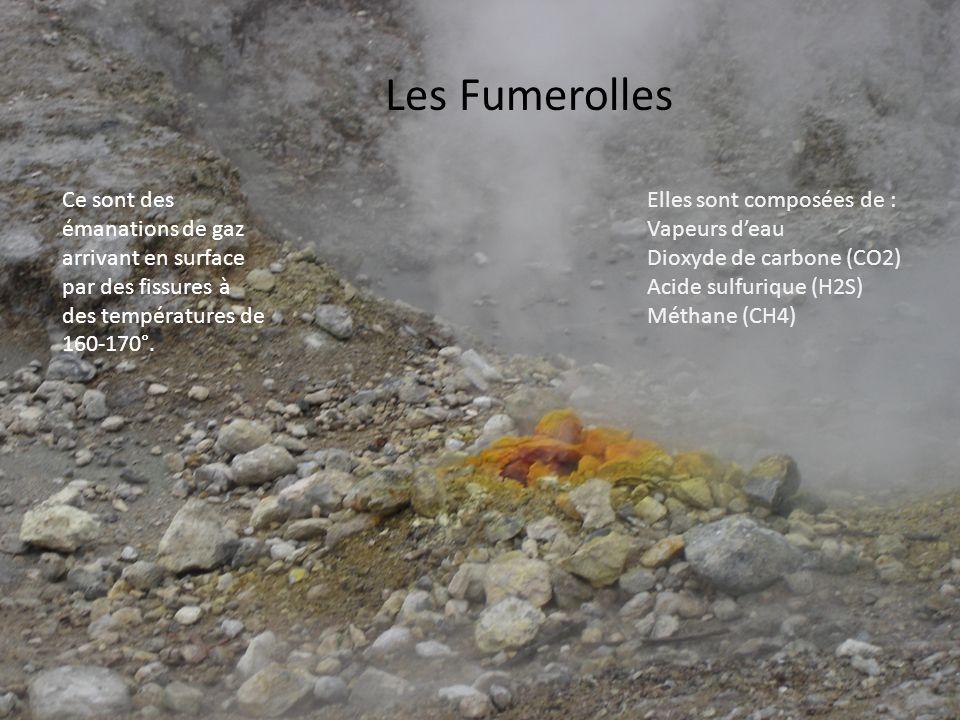 Les Fumerolles Ce sont des émanations de gaz arrivant en surface par des fissures à des températures de 160-170°. Elles sont composées de : Vapeurs de