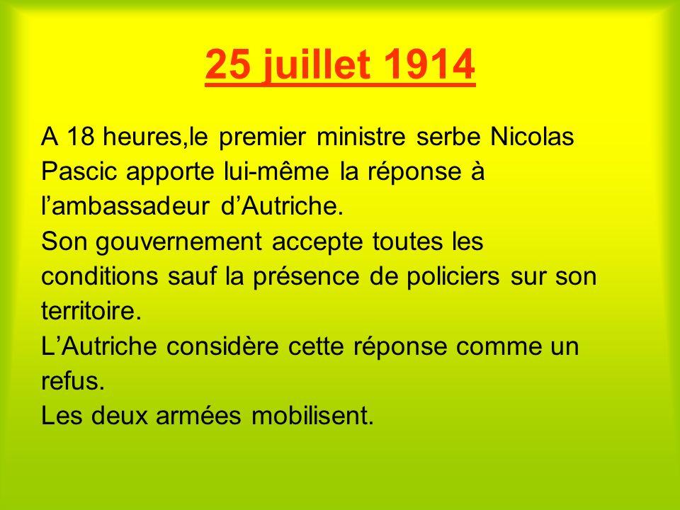 ULTIMATUM AUTRICHIEN Le 23 juillet 1914, lAutriche lance un ultimatum à Belgrade. Les conditions sont les suivantes: -Poursuite et condamnation des au