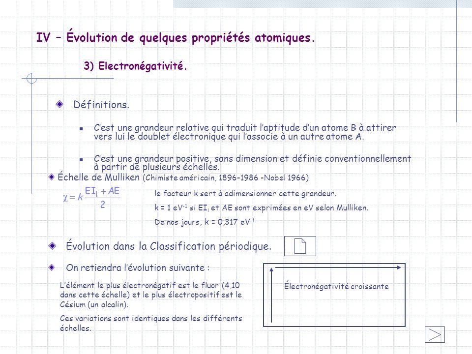 IV – Évolution de quelques propriétés atomiques. 3) Electronégativité. Définitions. Cest une grandeur relative qui traduit laptitude dun atome B à att