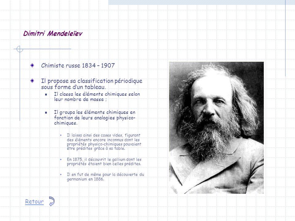 Dimitri Mendeleïev Chimiste russe 1834 – 1907 Il propose sa classification périodique sous forme dun tableau. Il classa les éléments chimiques selon l