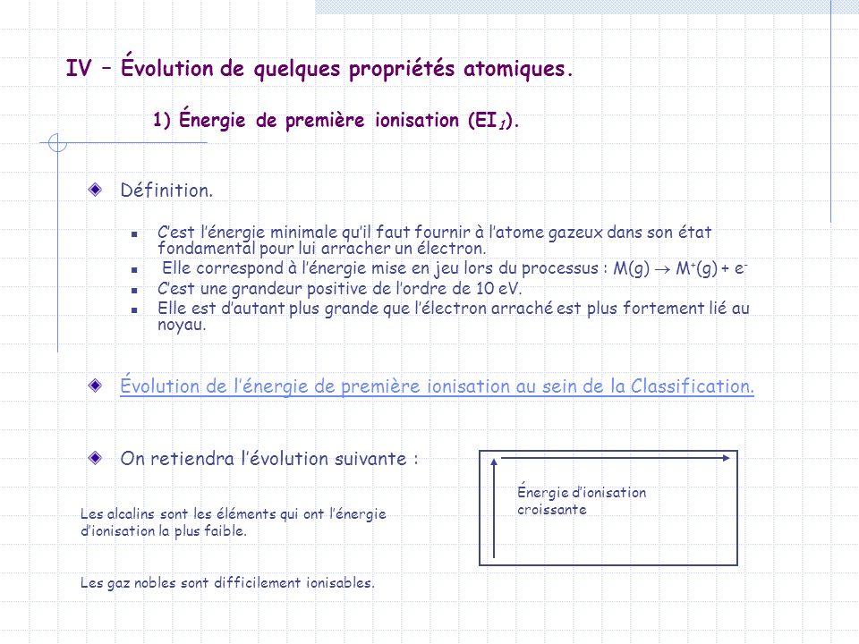 IV – Évolution de quelques propriétés atomiques. 1) Énergie de première ionisation (EI 1 ). Définition. Cest lénergie minimale quil faut fournir à lat