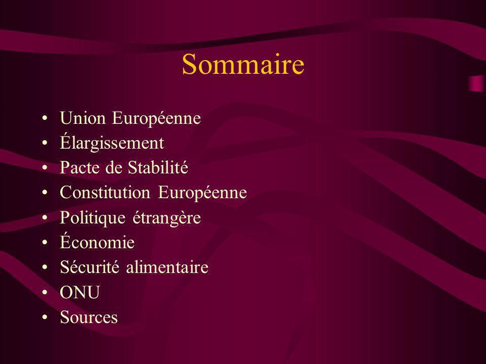 Sommaire Union Européenne Élargissement Pacte de Stabilité Constitution Européenne Politique étrangère Économie Sécurité alimentaire ONU Sources