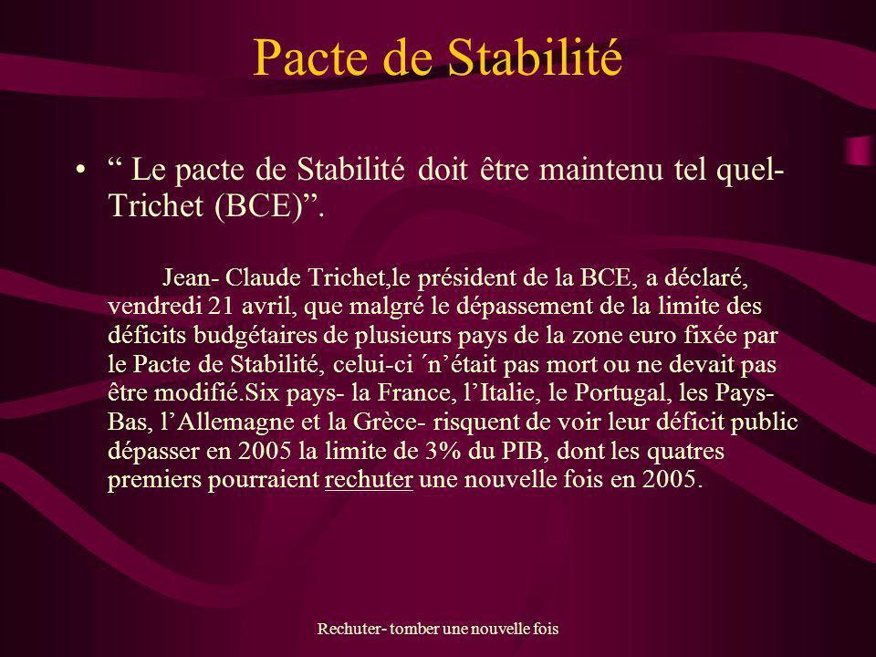 Rechuter- tomber une nouvelle fois Pacte de Stabilité Le pacte de Stabilité doit être maintenu tel quel- Trichet (BCE). Jean- Claude Trichet,le présid