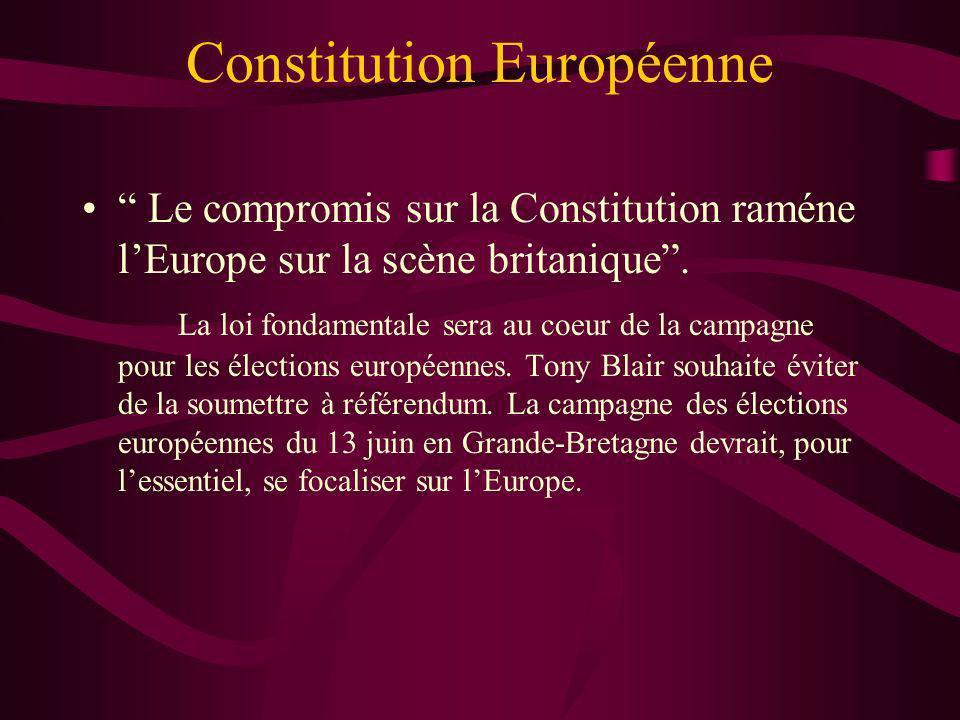 Constitution Européenne Le compromis sur la Constitution raméne lEurope sur la scène britanique. La loi fondamentale sera au coeur de la campagne pour