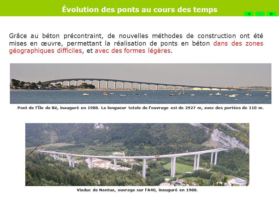Grâce au béton précontraint, de nouvelles méthodes de construction ont été mises en œuvre, permettant la réalisation de ponts en béton dans des zones