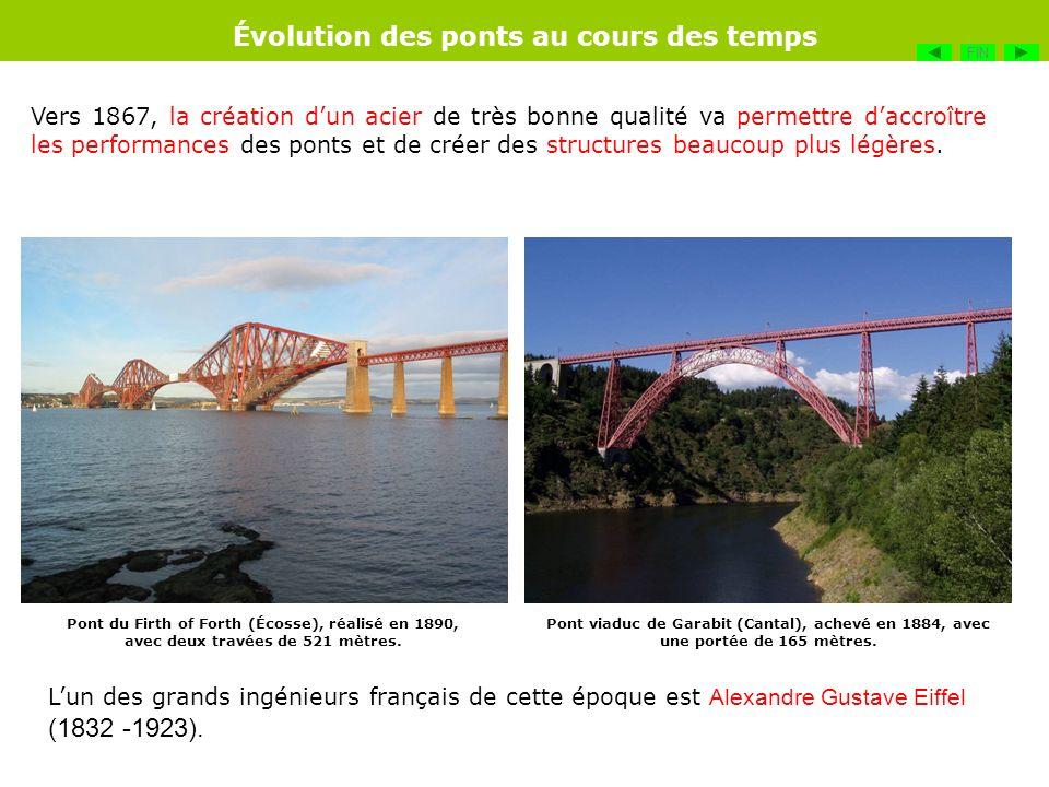 Vers 1867, la création dun acier de très bonne qualité va permettre daccroître les performances des ponts et de créer des structures beaucoup plus lég