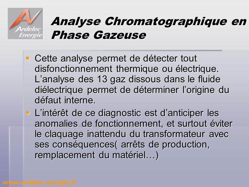 Analyse Chromatographique en Phase Gazeuse Cette analyse permet de détecter tout disfonctionnement thermique ou électrique. Lanalyse des 13 gaz dissou