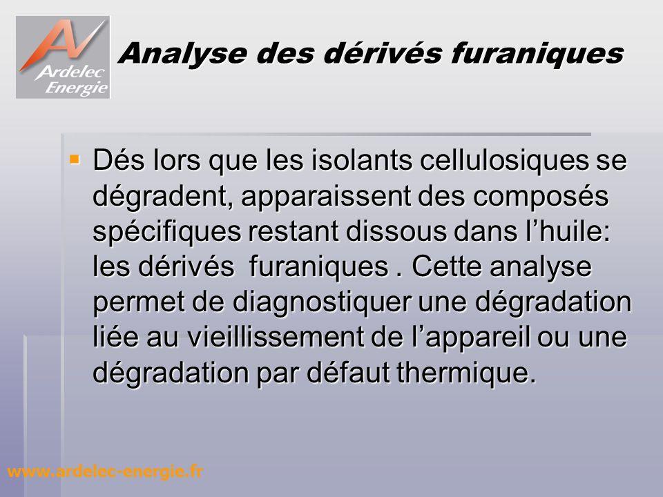 Analyse des dérivés furaniques Dés lors que les isolants cellulosiques se dégradent, apparaissent des composés spécifiques restant dissous dans lhuile