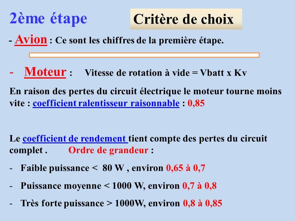 - Avion : Ce sont les chiffres de la première étape. 2ème étape Critère de choix -Moteur : Vitesse de rotation à vide = Vbatt x Kv En raison des perte