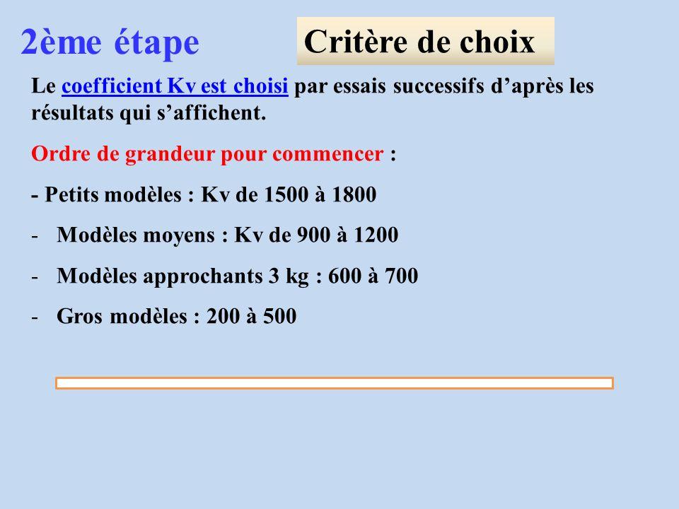 Le coefficient Kv est choisi par essais successifs daprès les résultats qui saffichent. Ordre de grandeur pour commencer : - Petits modèles : Kv de 15