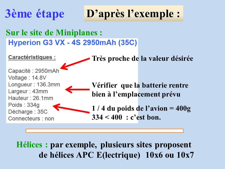 3ème étape Daprès lexemple : Sur le site de Miniplanes : Très proche de la valeur désirée Vérifier que la batterie rentre bien à lemplacement prévu 1