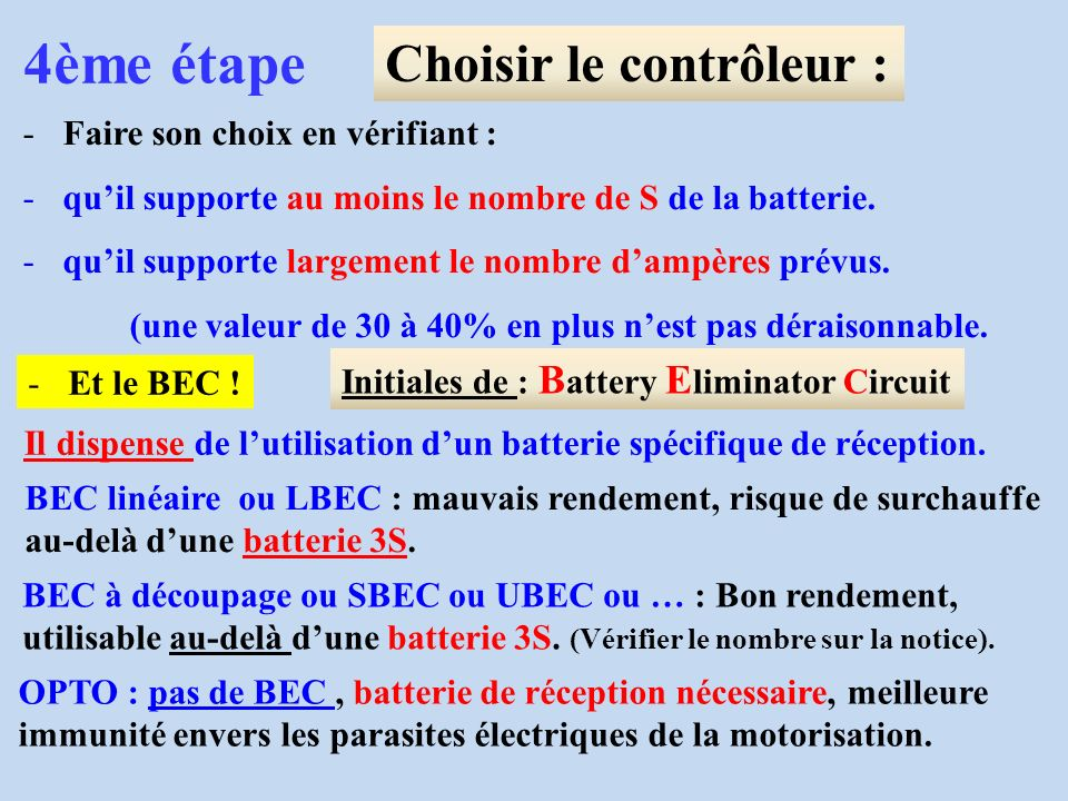 4ème étape Choisir le contrôleur : -Faire son choix en vérifiant : -quil supporte au moins le nombre de S de la batterie. -quil supporte largement le