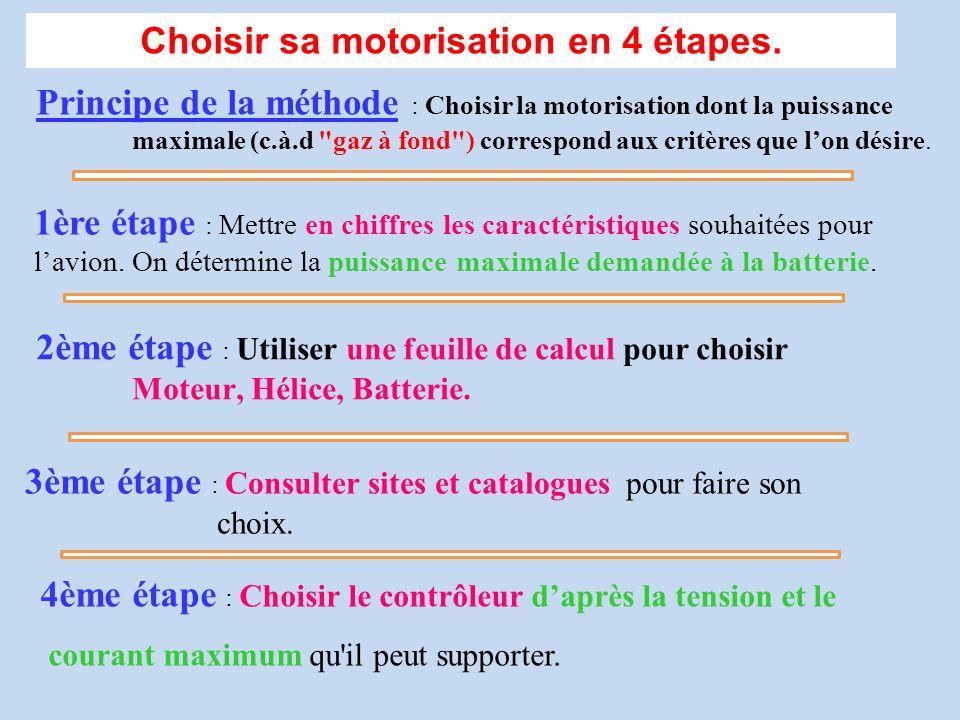 Choisir sa motorisation en 4 étapes. Principe de la méthode : Choisir la motorisation dont la puissance maximale (c.à.d