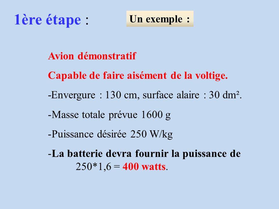 1ère étape : Un exemple : Vitesse retenue pour un avion standard : 33,5 x 2,2 = 73,7 km/h.