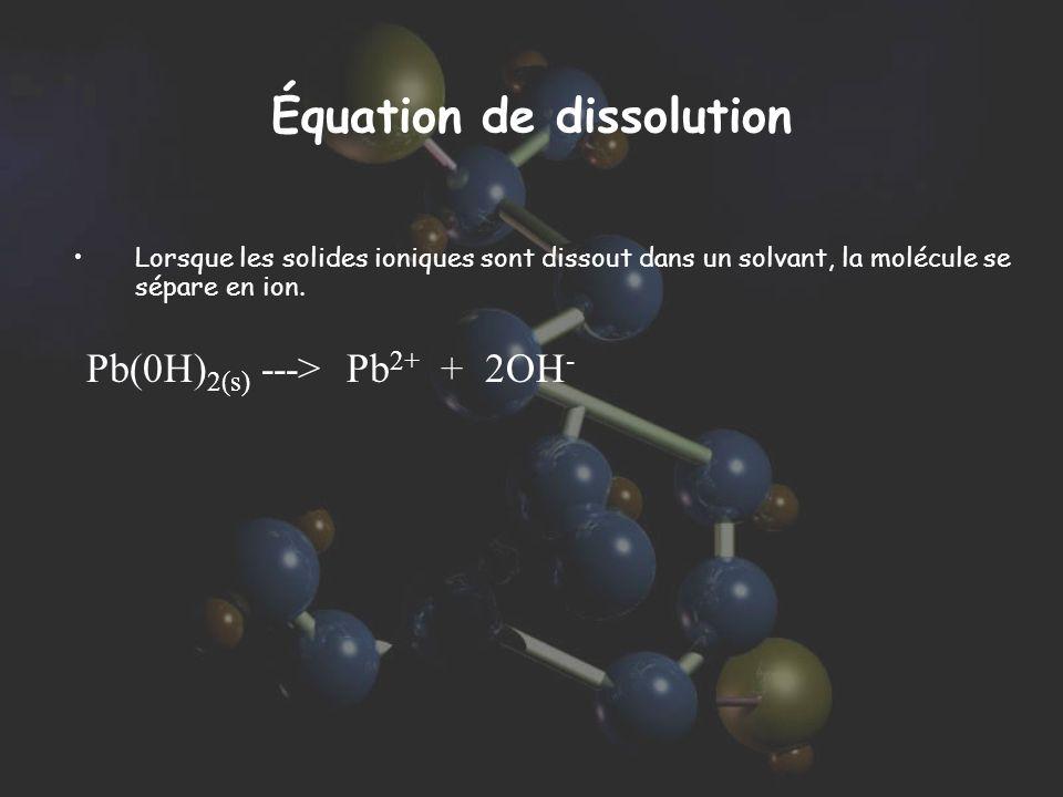 Équation de dissolution Lorsque les solides ioniques sont dissout dans un solvant, la molécule se sépare en ion. Pb(0H) 2(s) ---> Pb 2+ + 2OH -