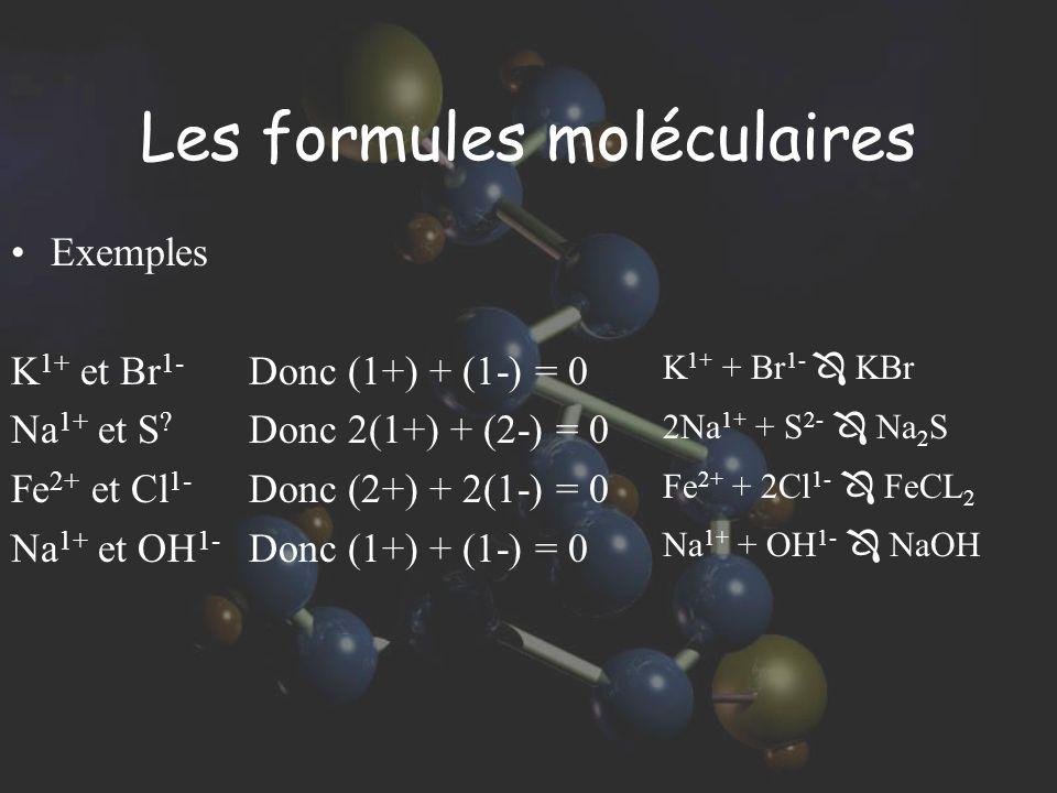 Les formules moléculaires Exemples K 1+ et Br 1- Na 1+ et S ? Fe 2+ et Cl 1- Na 1+ et OH 1- Donc (1+) + (1-) = 0 Donc 2(1+) + (2-) = 0 Donc (2+) + 2(1