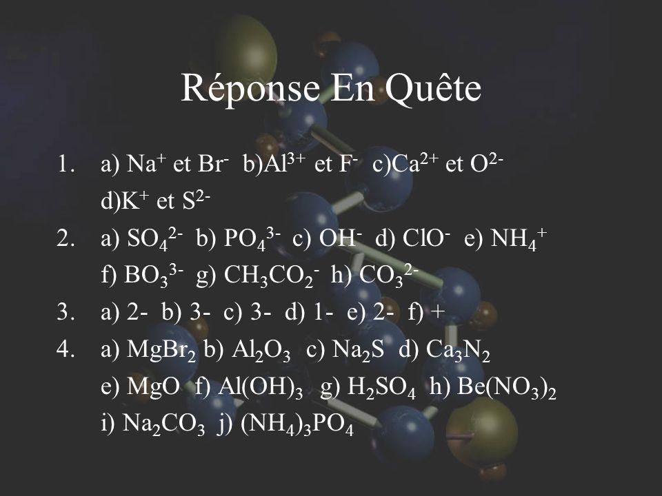 Réponse En Quête 1.a) Na + et Br - b)Al 3+ et F - c)Ca 2+ et O 2- d)K + et S 2- 2.a) SO 4 2- b) PO 4 3- c) OH - d) ClO - e) NH 4 + f) BO 3 3- g) CH 3