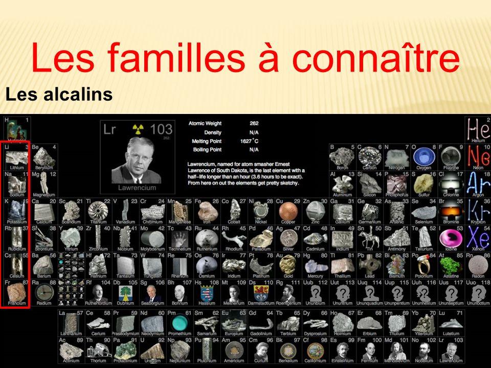 Les familles à connaître Les alcalins