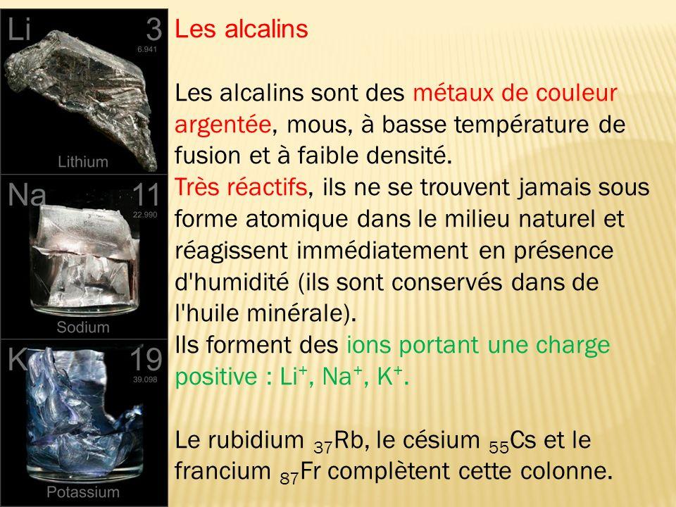 Les alcalins sont des métaux de couleur argentée, mous, à basse température de fusion et à faible densité. Très réactifs, ils ne se trouvent jamais so