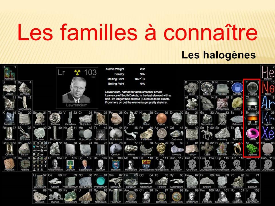 Les familles à connaître Les halogènes