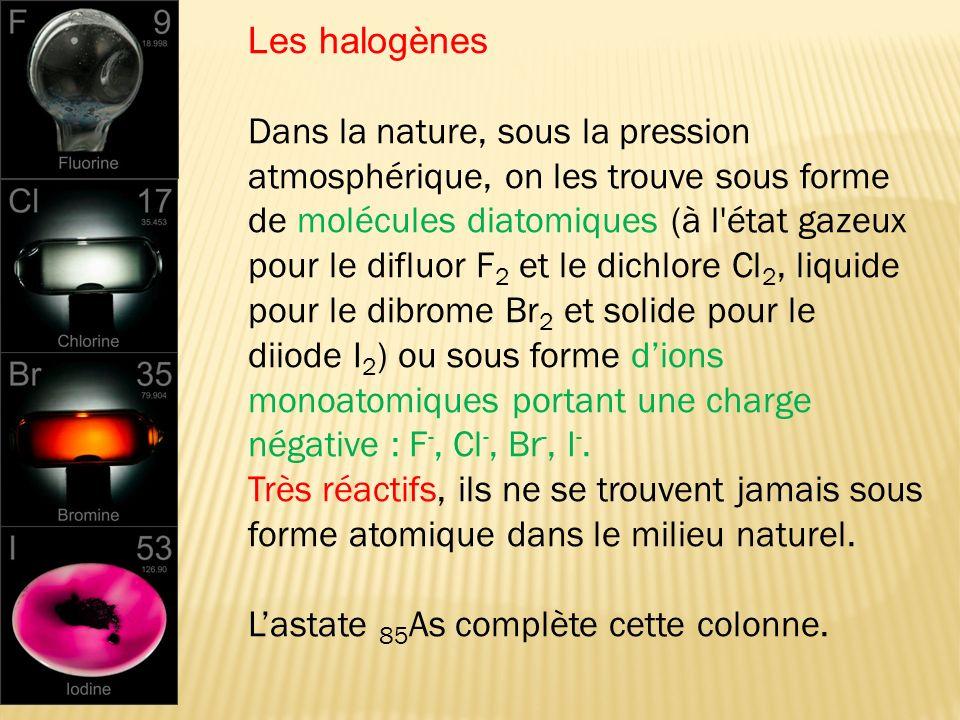 Dans la nature, sous la pression atmosphérique, on les trouve sous forme de molécules diatomiques (à l'état gazeux pour le difluor F 2 et le dichlore