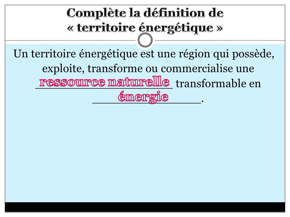 Un territoire énergétique est une région qui possède, exploite, transforme ou commercialise une ___________________ transformable en _______________.