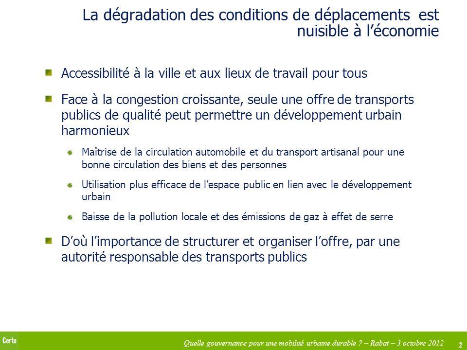 2 Quelle gouvernance pour une mobilité urbaine durable ? – Rabat – 3 octobre 2012 La dégradation des conditions de déplacements est nuisible à léconom