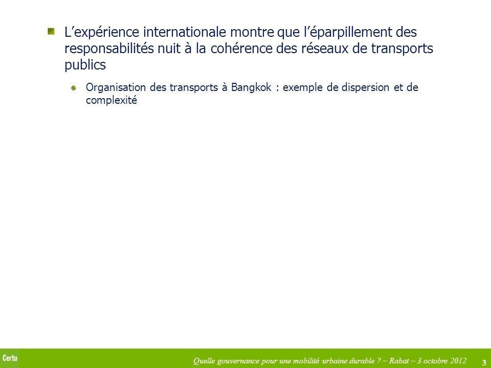 3 Quelle gouvernance pour une mobilité urbaine durable ? – Rabat – 3 octobre 2012 Lexpérience internationale montre que léparpillement des responsabil